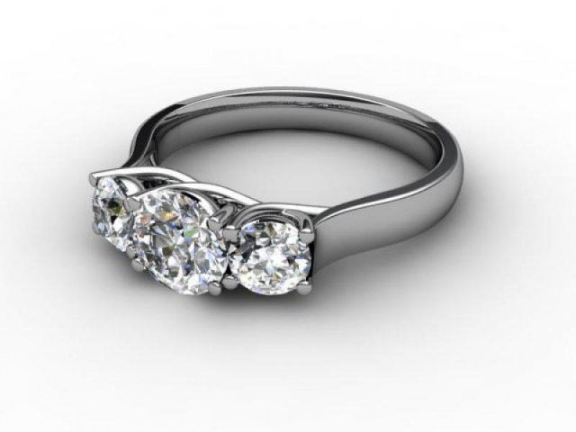 Palladium 3 Stone Diamond Engagement Rings