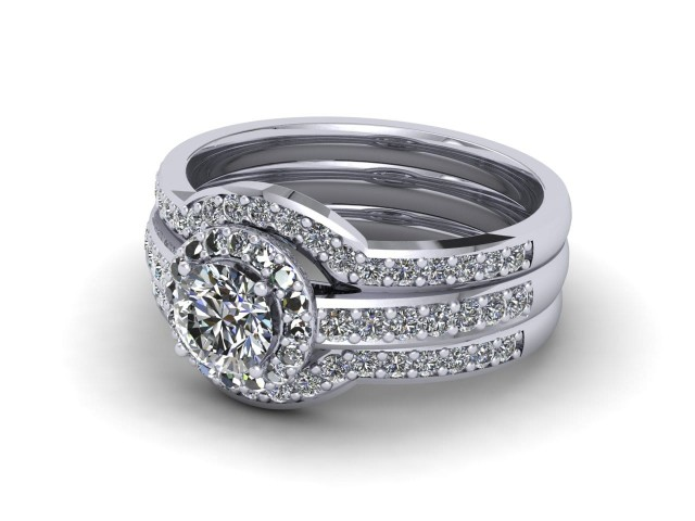 Palladium Bridal Engagement Ring Sets
