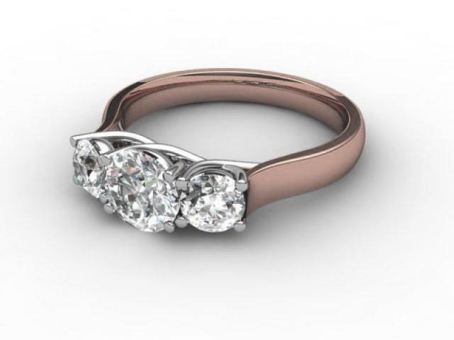 Rose Gold 3 Stone Diamond Engagement Rings