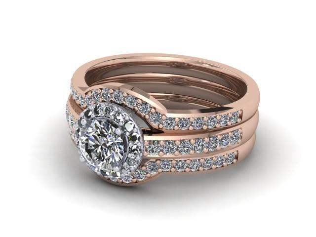 Rose Gold Bridal Engagement Ring Sets