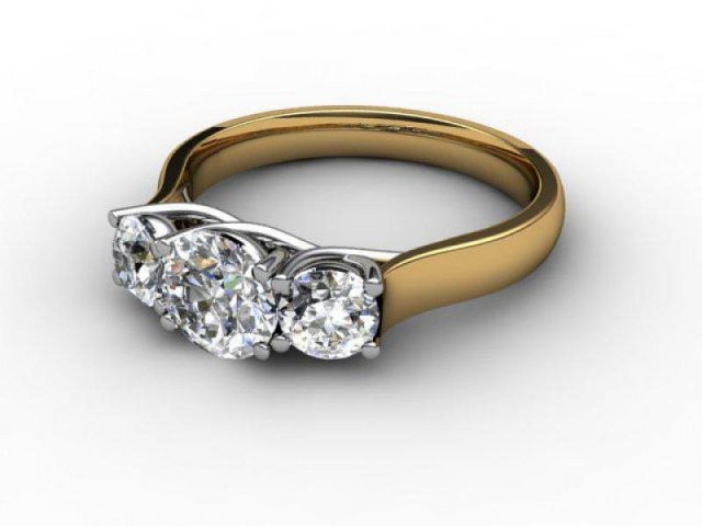 Yellow Gold 3 Stone Diamond Engagement Rings