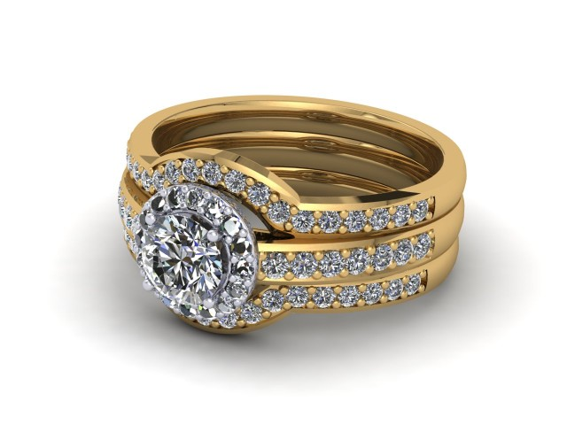 Yellow Gold Bridal Engagement Ring Sets