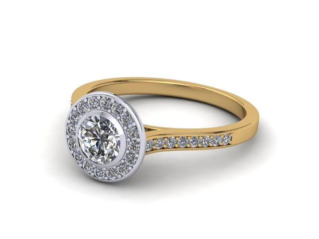 Yellow Gold Halo Cluster Engagement Rings