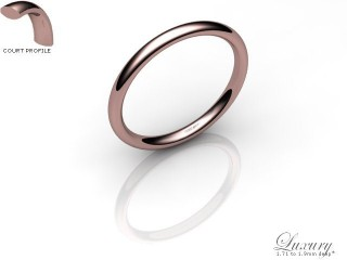 Women's 2.0mm. Luxury Court (Comfort Fit) Wedding Ring: Hallmarked 18ct. Rose Gold-18RGPP-2.0CHL