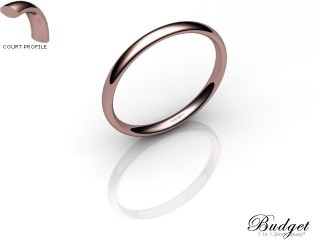 Women's 2.0mm. Budget Court (Comfort Fit) Wedding Ring: Hallmarked 18ct. Rose Gold-18RGPP-2.0CLL