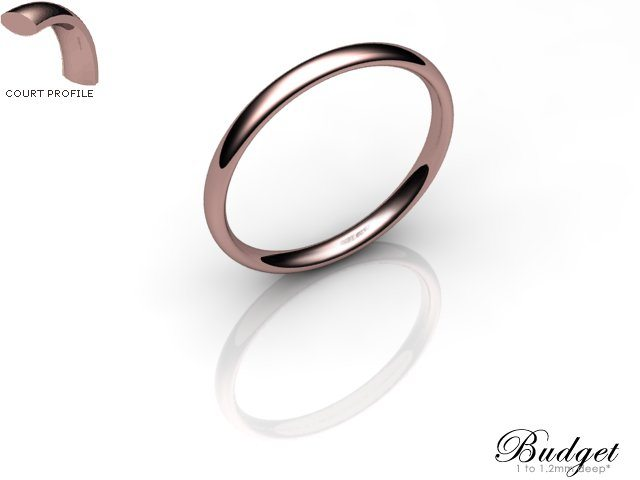 Women's 2.0mm. Budget Court (Comfort Fit) Wedding Ring: Hallmarked 9ct. Rose Gold