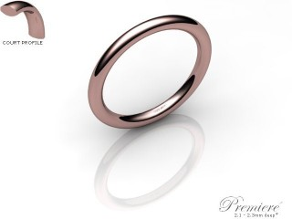 Women's 2.0mm. Premiere Court (Comfort Fit) Wedding Ring: Hallmarked 18ct. Rose Gold-18RGPP-2.0CXL