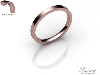 Women's 2.0mm. Luxury Flat-Court (Comfort Fit) Wedding Ring: Hallmarked 18ct. Rose Gold-18RGPP-2.0FCHL