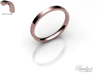 Women's 2.0mm. Budget Flat-Court (Comfort Fit) Wedding Ring: Hallmarked 18ct. Rose Gold-18RGPP-2.0FCLL