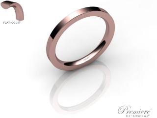Women's 2.0mm. Premiere Flat-Court (Comfort Fit) Wedding Ring: Hallmarked 18ct. Rose Gold-18RGPP-2.0FCXL