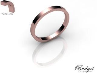 Women's 2.0mm. Budget Flat Wedding Ring: Hallmarked 18ct. Rose Gold-18RGPP-2.0FLL