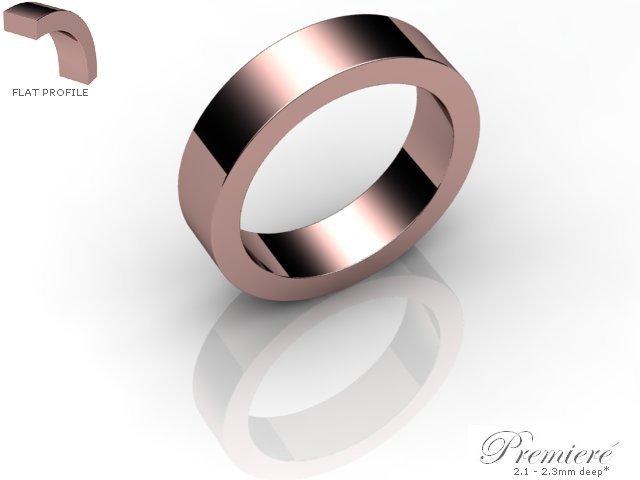 Men's 5.0mm. Premiere Flat Wedding Ring: Hallmarked 18ct. Rose Gold