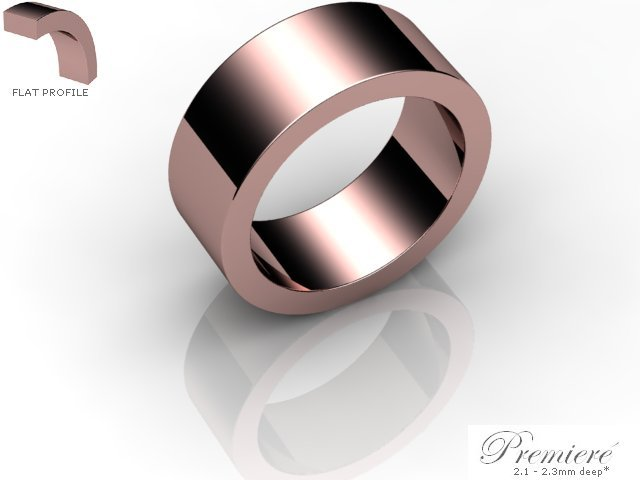 Men's 8.0mm. Premiere Flat Wedding Ring: Hallmarked 18ct. Rose Gold