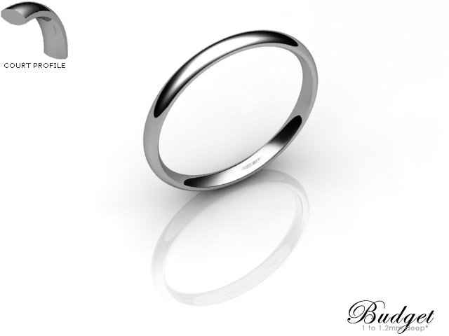 Women's 2.0mm. Budget Court (Comfort Fit) Wedding Ring: Hallmarked 18ct. White Gold
