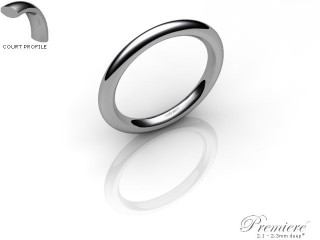 Women's 2.0mm. Premiere Court (Comfort Fit) Wedding Ring: Hallmarked 18ct. White Gold-18WGPP-2.0CXL