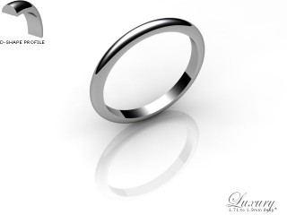Women's 2.0mm. Luxury D Shape Wedding Ring: Hallmarked Palladium (950)-PALLPP-2.0DHL