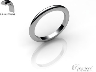Women's 2.0mm. Premiere D Shape Wedding Ring: Hallmarked Platinum (950)-PLATPP-2.0DXL