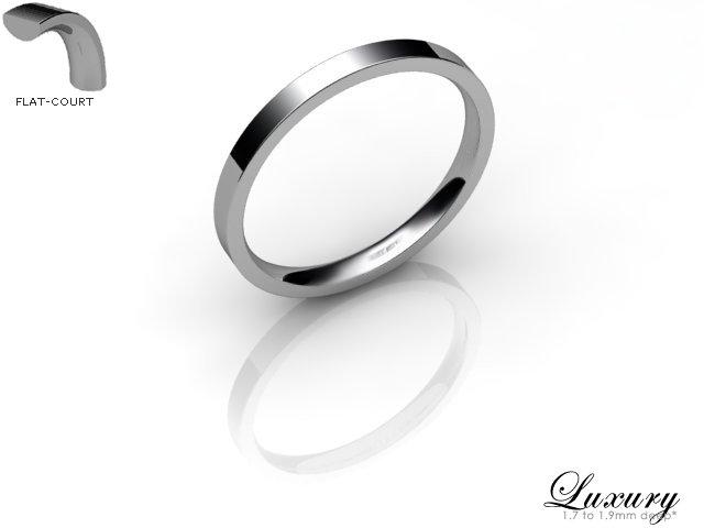 Women's 2.0mm. Budget Flat-Court (Comfort Fit) Wedding Ring: Hallmarked 18ct. White Gold