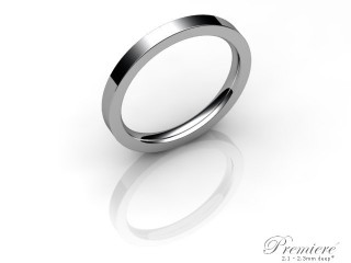 Women's 2.0mm. Premiere Flat-Court (Comfort Fit) Wedding Ring: Hallmarked 18ct. White Gold-18WGPP-2.0FCXL