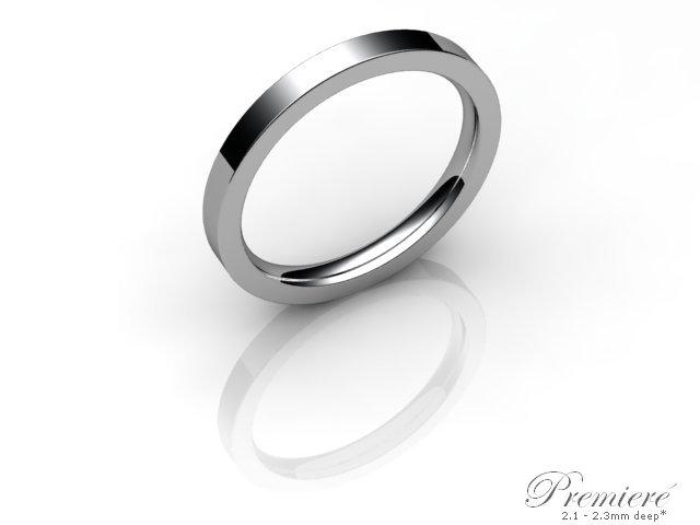 Women's 2.0mm. Premiere Flat-Court (Comfort Fit) Wedding Ring: Hallmarked 9ct. White Gold