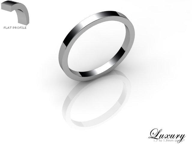 Women's 2.0mm. Luxury Flat Wedding Ring: Hallmarked 18ct. White Gold