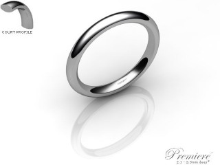Women's 2.5mm. Premiere Court (Comfort Fit) Wedding Ring: Hallmarked Platinum (950)-PLATPP-2.5CXL