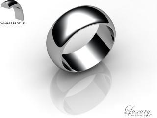 Men's 8.0mm. Luxury D Shape Wedding Ring: Hallmarked 9ct. White Gold-09WGPP-8.0DHG