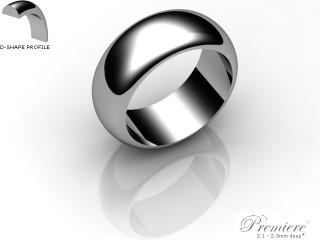 Men's 8.0mm. Premiere D Shape Wedding Ring: Hallmarked 18ct. White Gold-18WGPP-8.0DXG