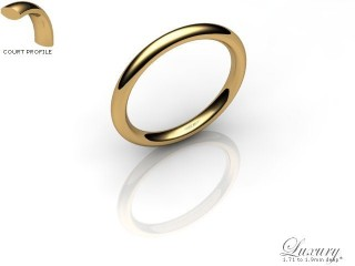 Women's 2.0mm. Luxury Court (Comfort Fit) Wedding Ring: Hallmarked 9ct. Yellow Gold-09YGPP-2.0CHL