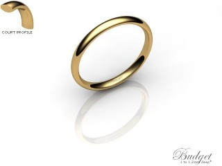 Women's 2.0mm. Budget Court (Comfort Fit) Wedding Ring: Hallmarked 9ct. Yellow Gold-09YGPP-2.0CLL