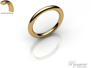 Women's 2.0mm. Premiere Court (Comfort Fit) Wedding Ring: Hallmarked 9ct. Yellow Gold-09YGPP-2.0CXL