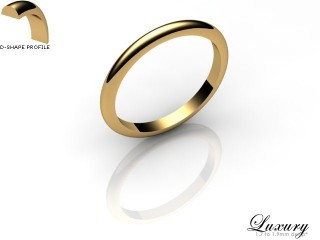 Women's 2.0mm. Luxury D Shape Wedding Ring: Hallmarked 9ct. Yellow Gold-09YGPP-2.0DHL