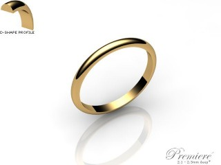 Women's 2.0mm. Premiere D Shape Wedding Ring: Hallmarked 9ct. Yellow Gold-09YGPP-2.0DXL