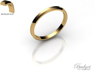 Women's 2.0mm. Budget Flat Wedding Ring: Hallmarked 9ct. Yellow Gold-09YGPP-2.0FLL
