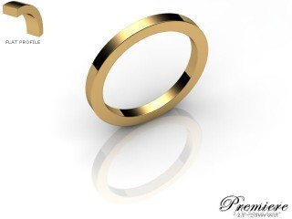 Women's 2.0mm. Premiere Flat Wedding Ring: Hallmarked 9ct. Yellow Gold-09YGPP-2.0FXL
