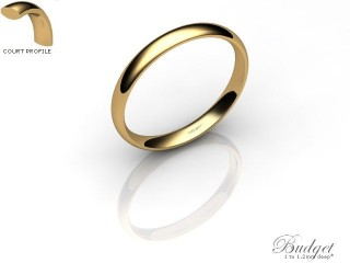 Women's 2.5mm. Budget Court (Comfort Fit) Wedding Ring: Hallmarked 9ct. Yellow Gold-09YGPP-2.5CLL