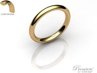 Women's 2.5mm. Premiere Court (Comfort Fit) Wedding Ring: Hallmarked 9ct. Yellow Gold-09YGPP-2.5CXL