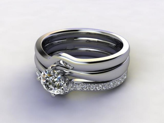 Bridal-Set | Platinum 3 Part Diamond Engagement Ring-Set, Round Brilliant-cut Certified Diamond Selected by You