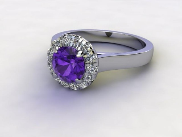 Natural Amethyst and Diamond Halo Ring. Hallmarked Platinum (950)
