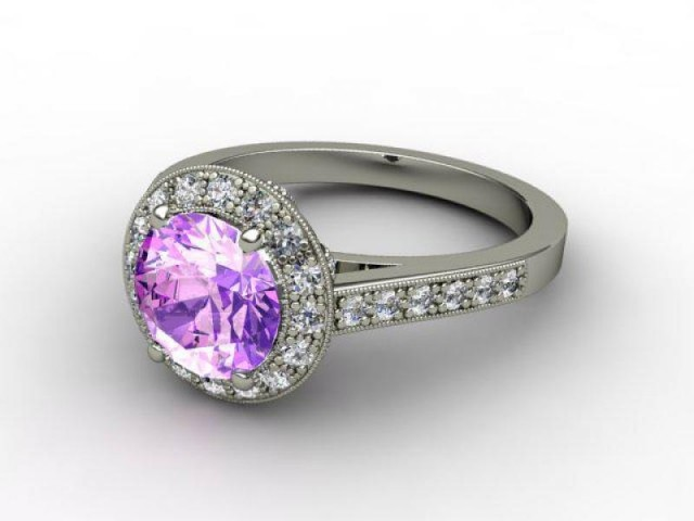 Natural Amethyst and Diamond Ring. Platinum (950)