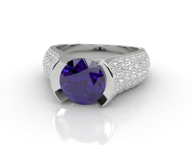 Natural Amethyst and Diamond Ring. Platinum (950)