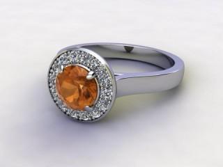 Natural Citrine and Diamond Halo Ring. Hallmarked Platinum (950)-01-0114-8942