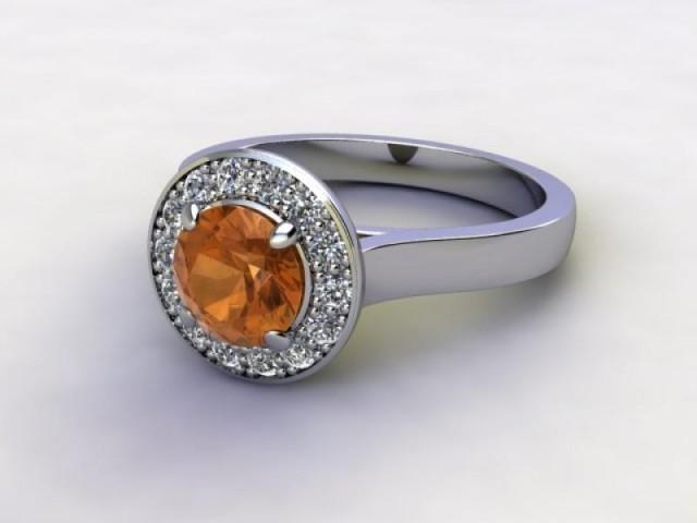 Natural Citrine and Diamond Halo Ring. Hallmarked Platinum (950)