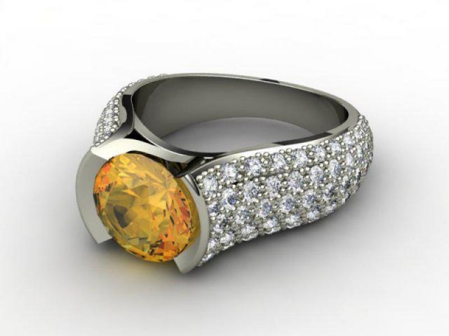Natural Golden Citrine and Diamond Ring. Platinum (950)