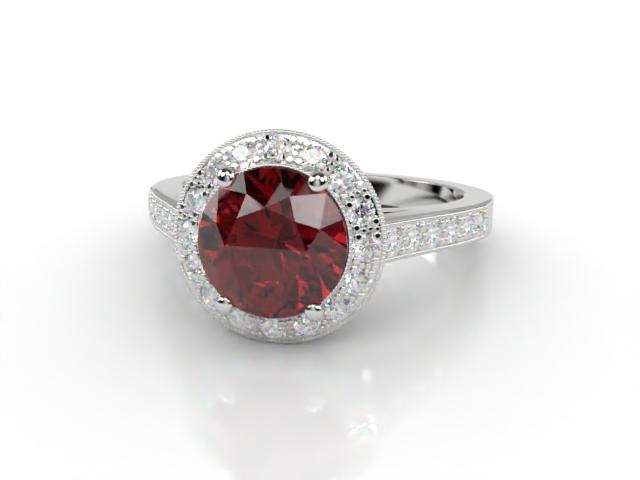 Natural Ruby and Diamond Ring. Platinum (950)