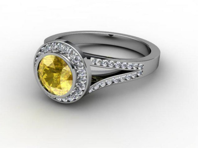 Natural Yellow Sapphire and Diamond Ring. Platinum (950)