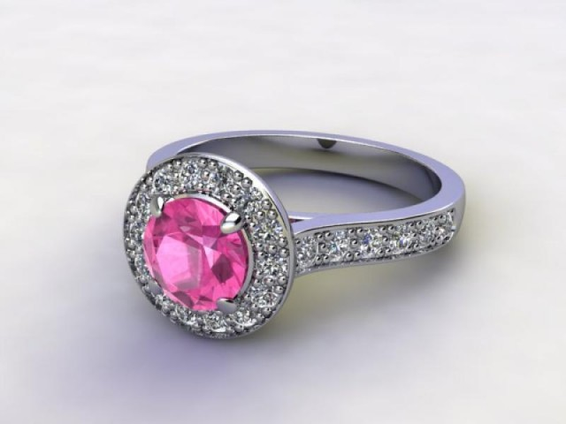 Natural Pink Sapphire and Diamond Halo Ring. Hallmarked Platinum (950)