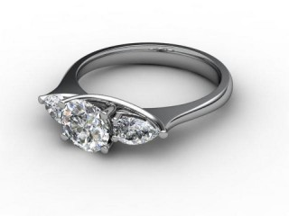 Trilogy Platinum Round & Pearshape Diamond-01-0133-2303