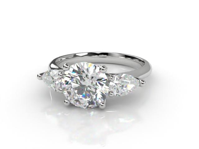Trilogy Platinum Round & Pearshape Diamond