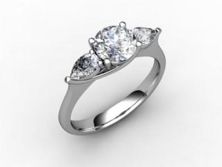 Trilogy Platinum Round & Pearshape Diamond - 15